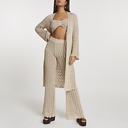 Rose gold crochet tie front knit cardigan