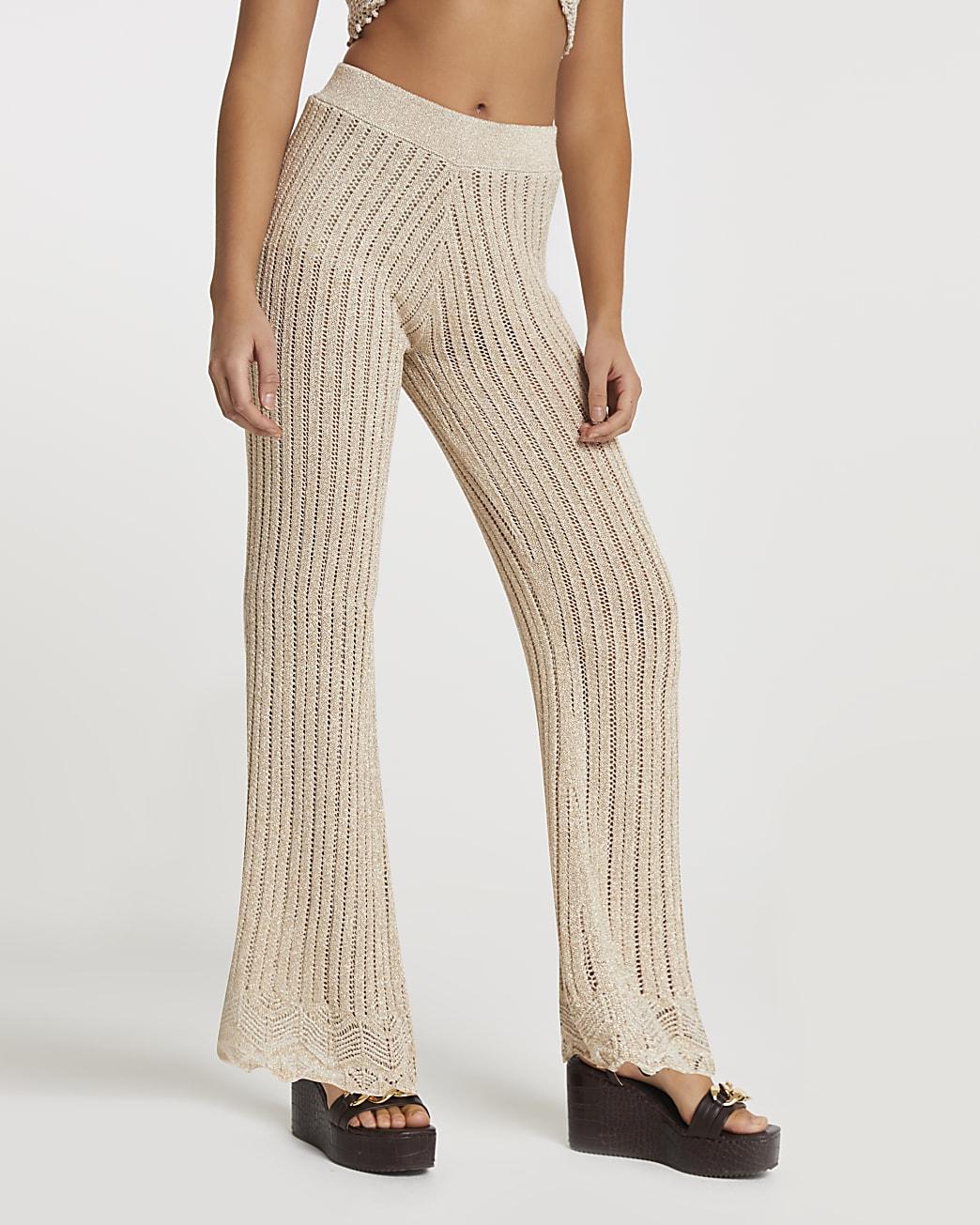Rose gold crochet wide leg trousers