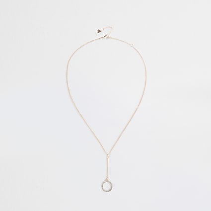 Rose Gold Crystal Disc Drop Necklace