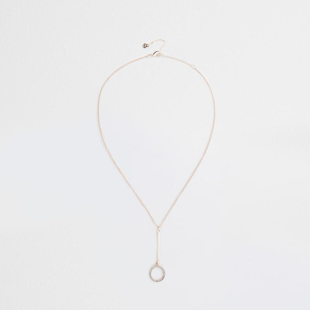 Rose Gold Crystal Disc Drop Necklace