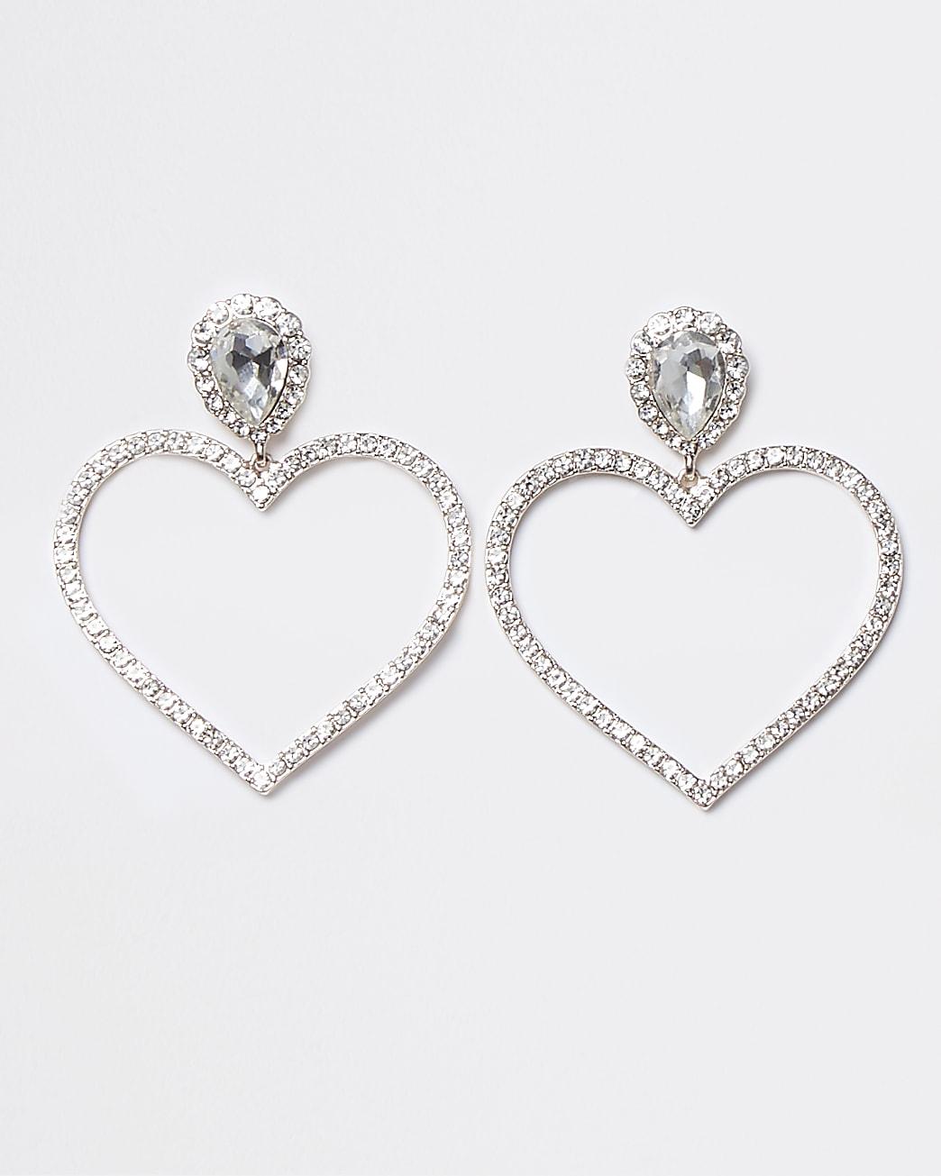 Rose gold crystal double heart drop earrings