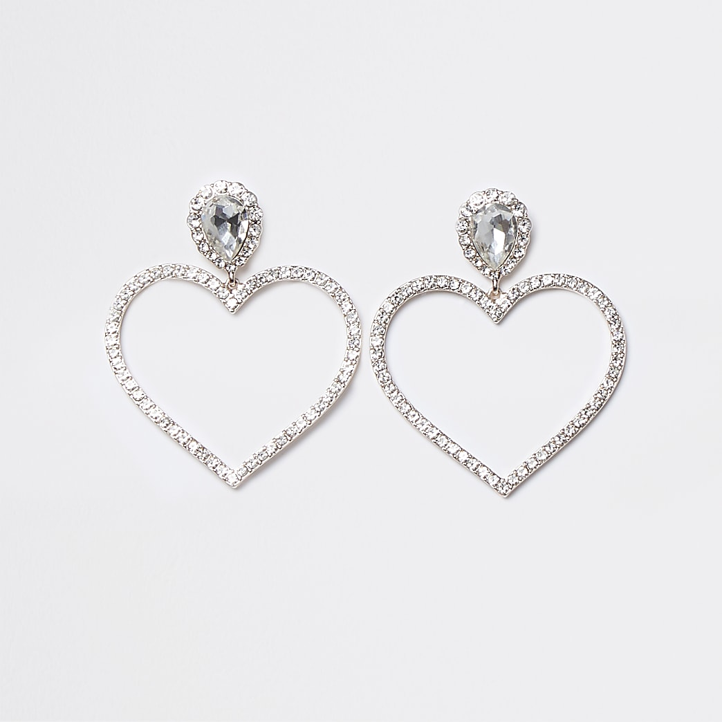 Rose Gold Crystal Double Heart Drop Earrings