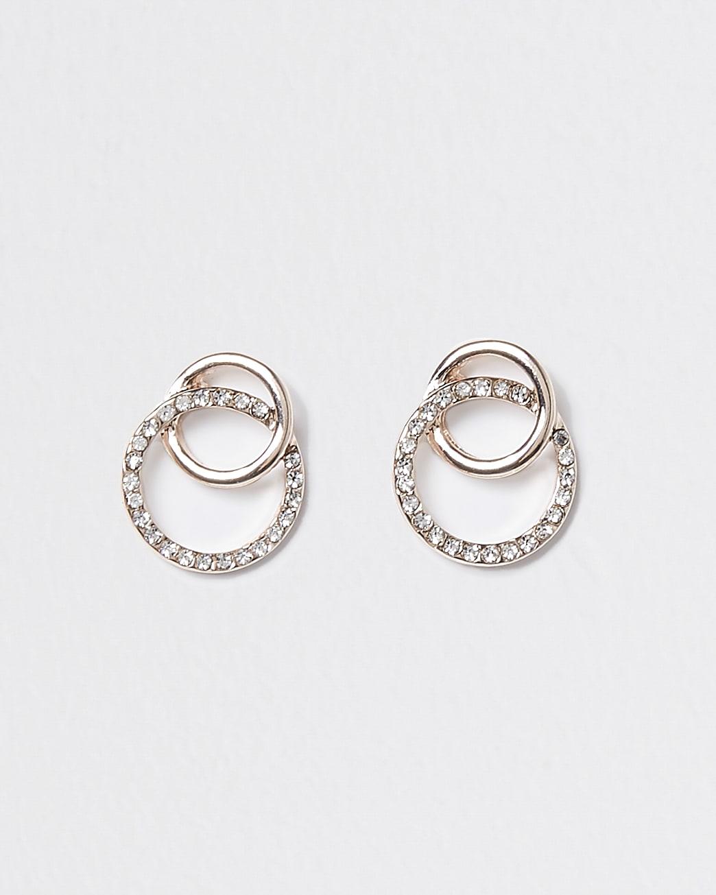 Rose gold crystal linked stud earrings