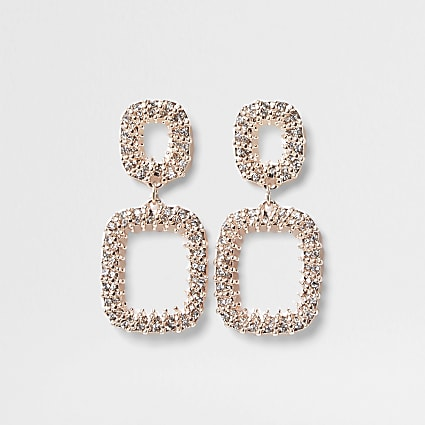 Rose gold cup chain ball wrap dangle earring