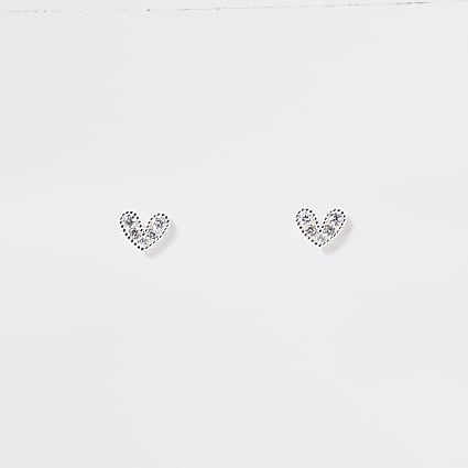 Rose gold diamante heart stud earrings