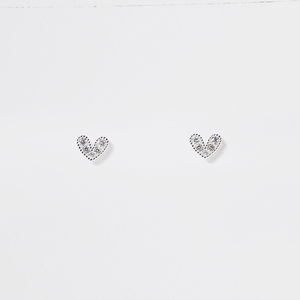 Rose gold diamante heart stud earrings