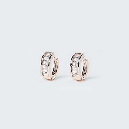 Rose Gold Diamante Hoop Earring