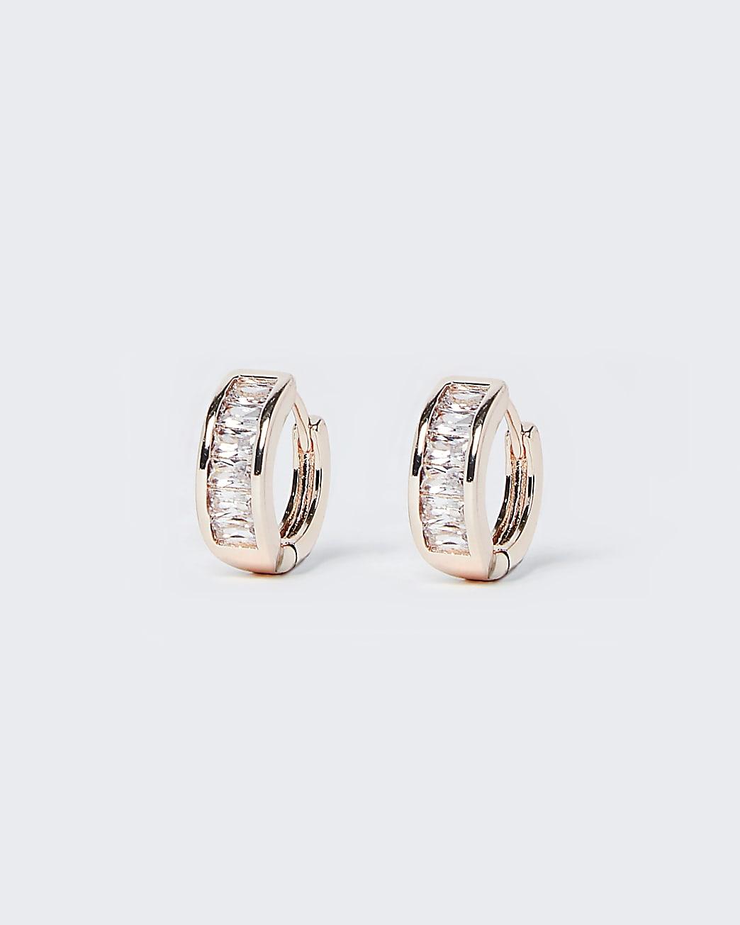 Rose gold diamante hoop earrings