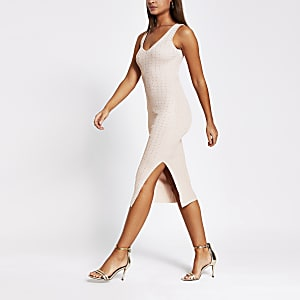 Rose gold diamante knitted bodycon dress