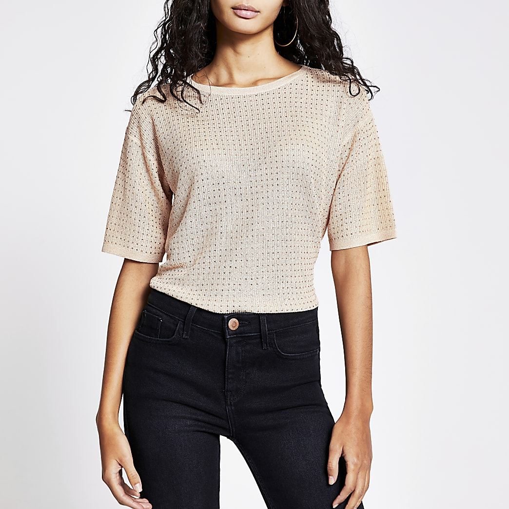Rose gold diamante knitted T-shirt