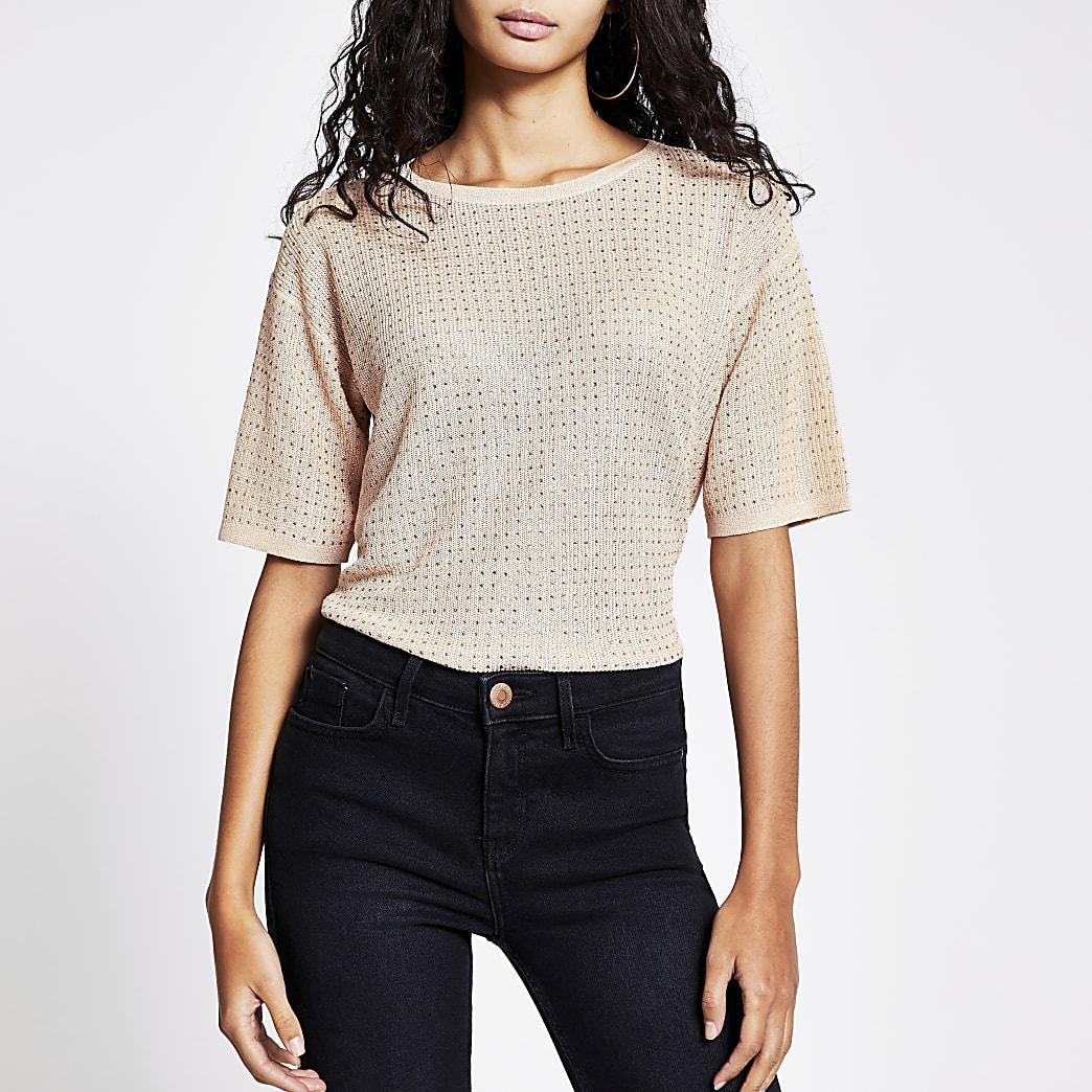 Roségoudkleurige gebreid T-shirtmet siersteentjes
