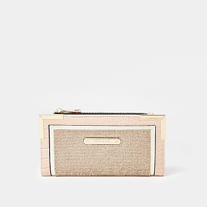 Rose Gold diamante metal corner purse