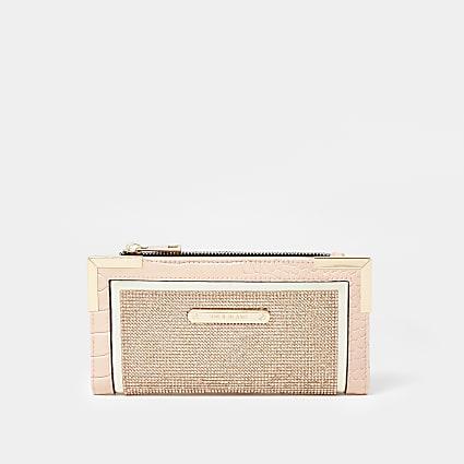 Rose Gold diamante metal corner purse