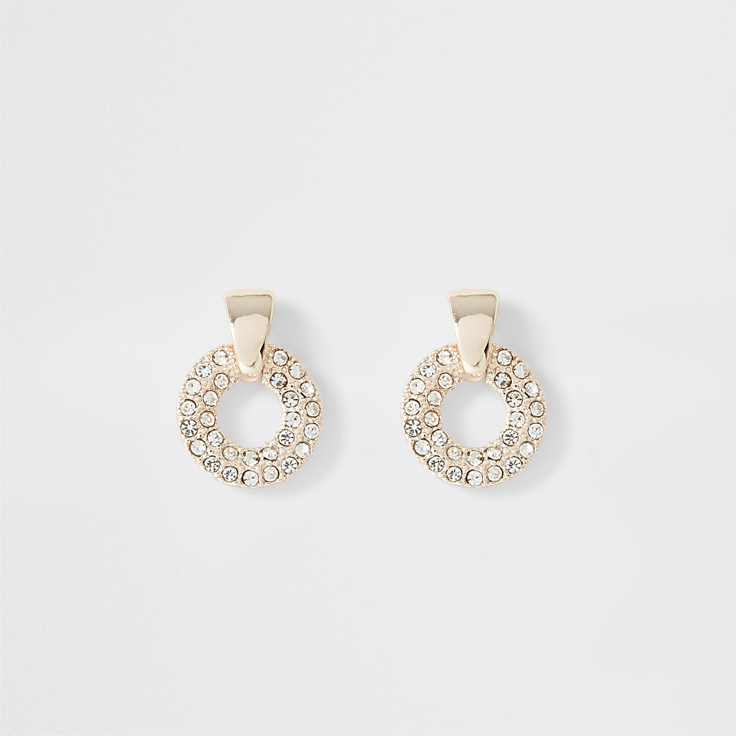 Rose gold diamante paved ring stud earrings