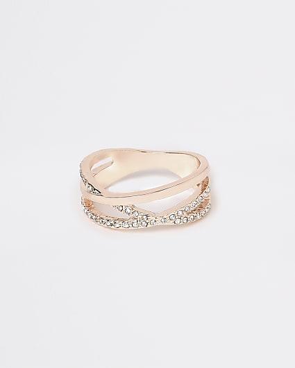 Rose gold diamante ring