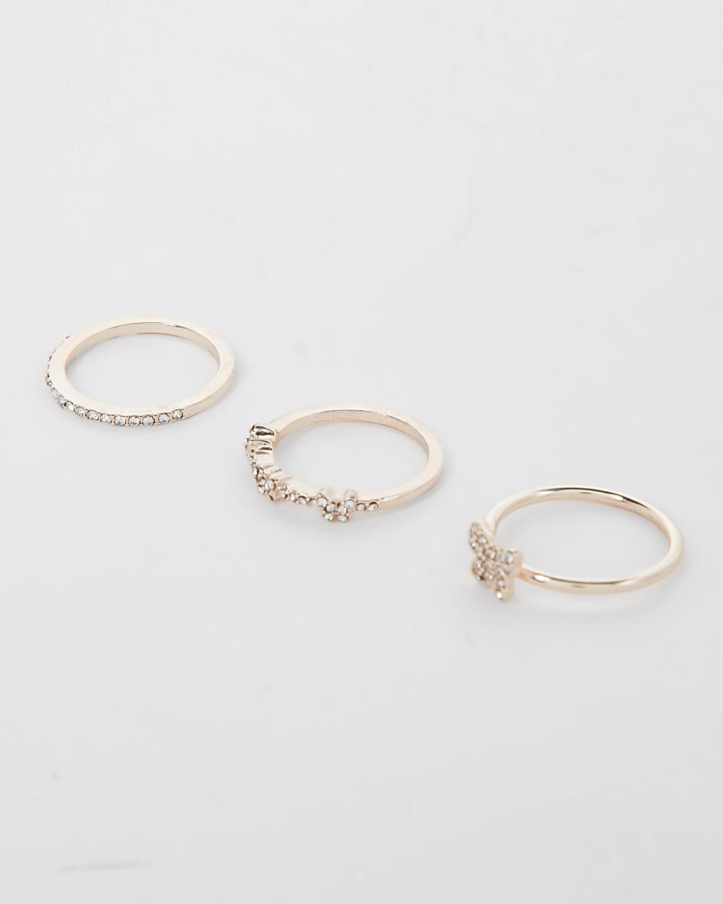 Rose gold diamante rings multipack