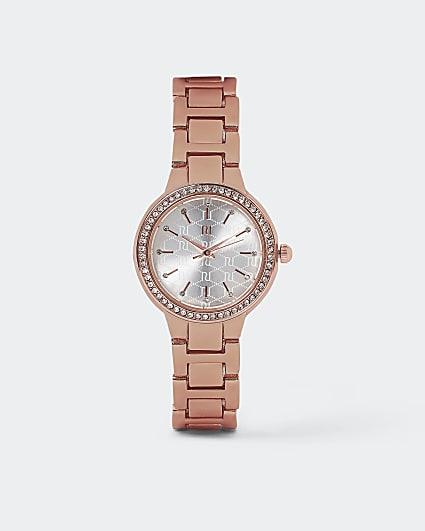 Rose gold diamante watch