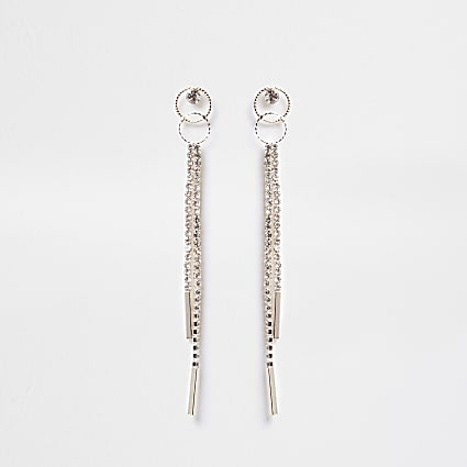 Rose gold double ring cup chain drop earring