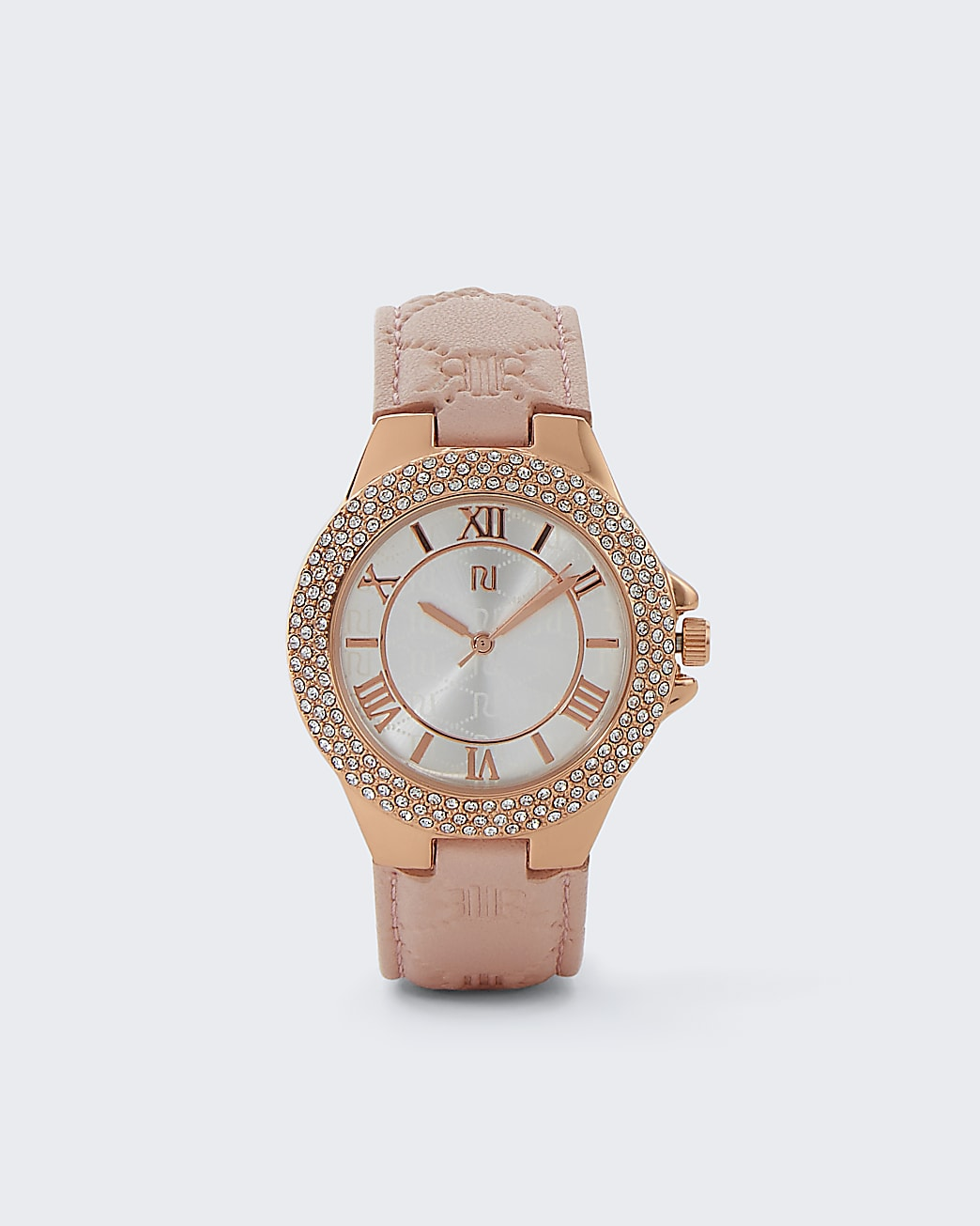 Rose gold embossed leather strap watch