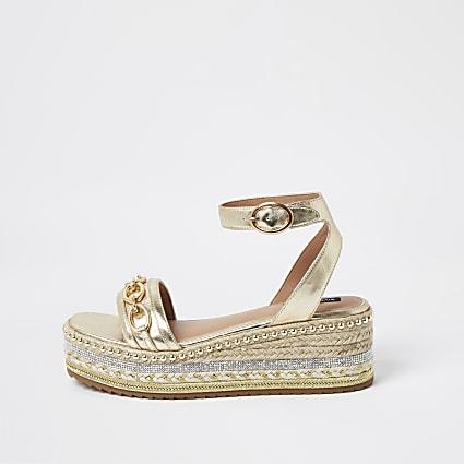 Rose gold flatform sandals