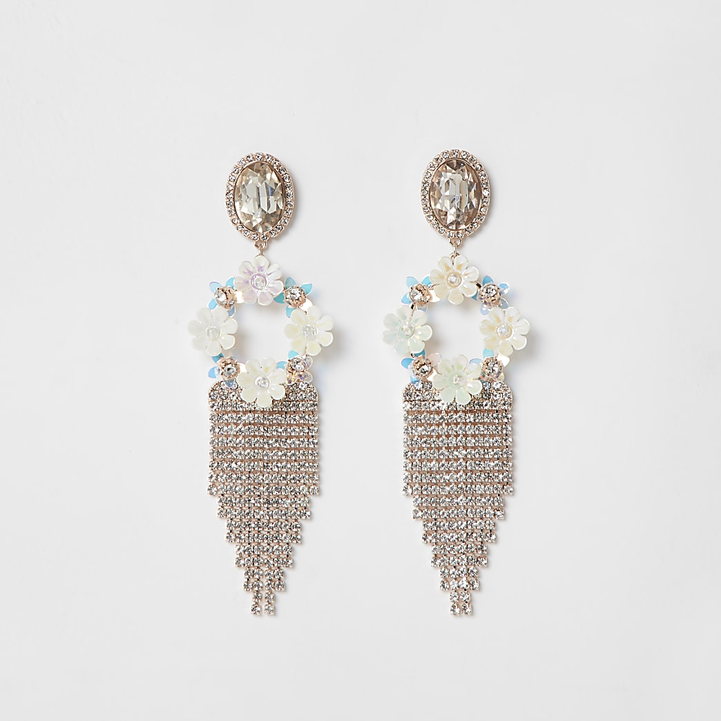 Rose gold floral tassel drop earrings