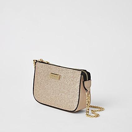 Rose gold glitter embellish underarm handbag