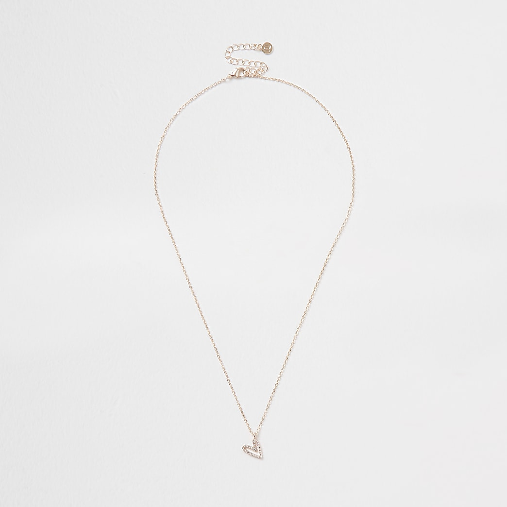 Rose gold heart design short necklace