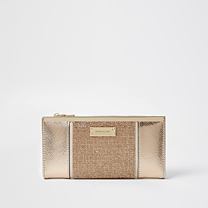 Rose Gold heatseal panel metal top purse