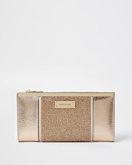 Rose Gold heatseal panel metal top purse