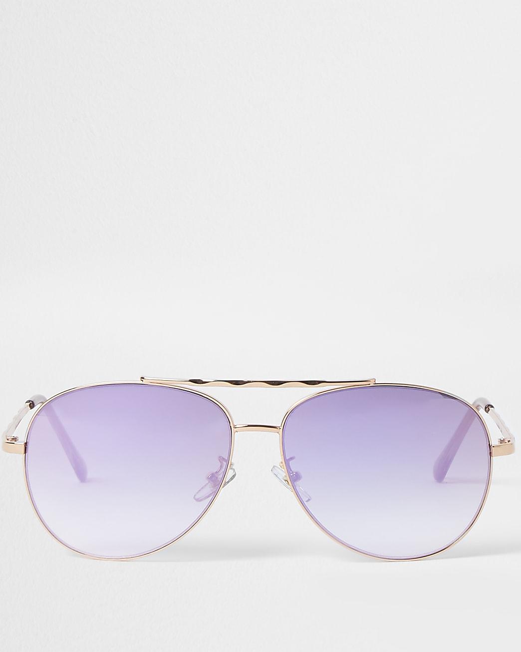 Rose Gold iridescent aviator sunglasses