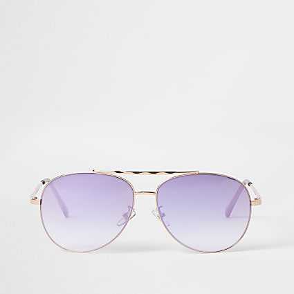 Rose Gold iridescent aviator sunglasses