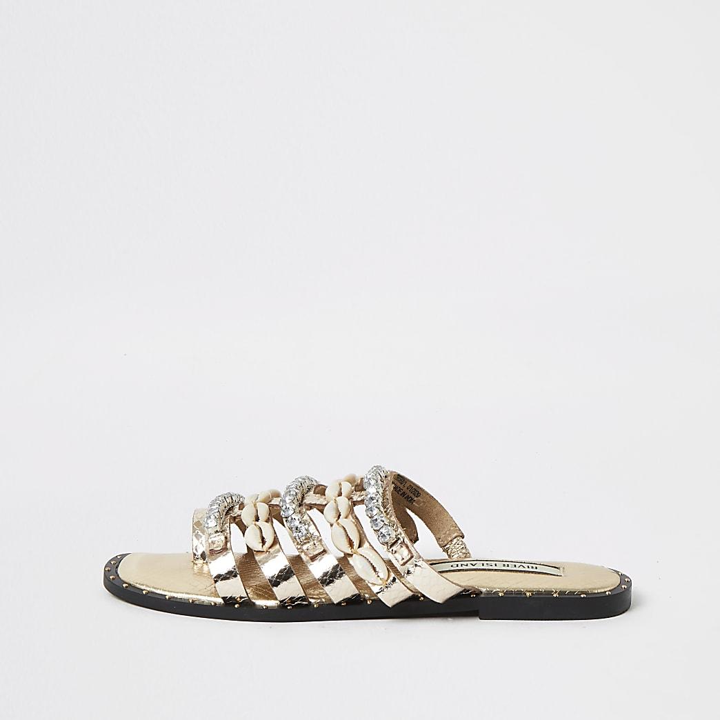 Rose gold leather shell embellished sandals