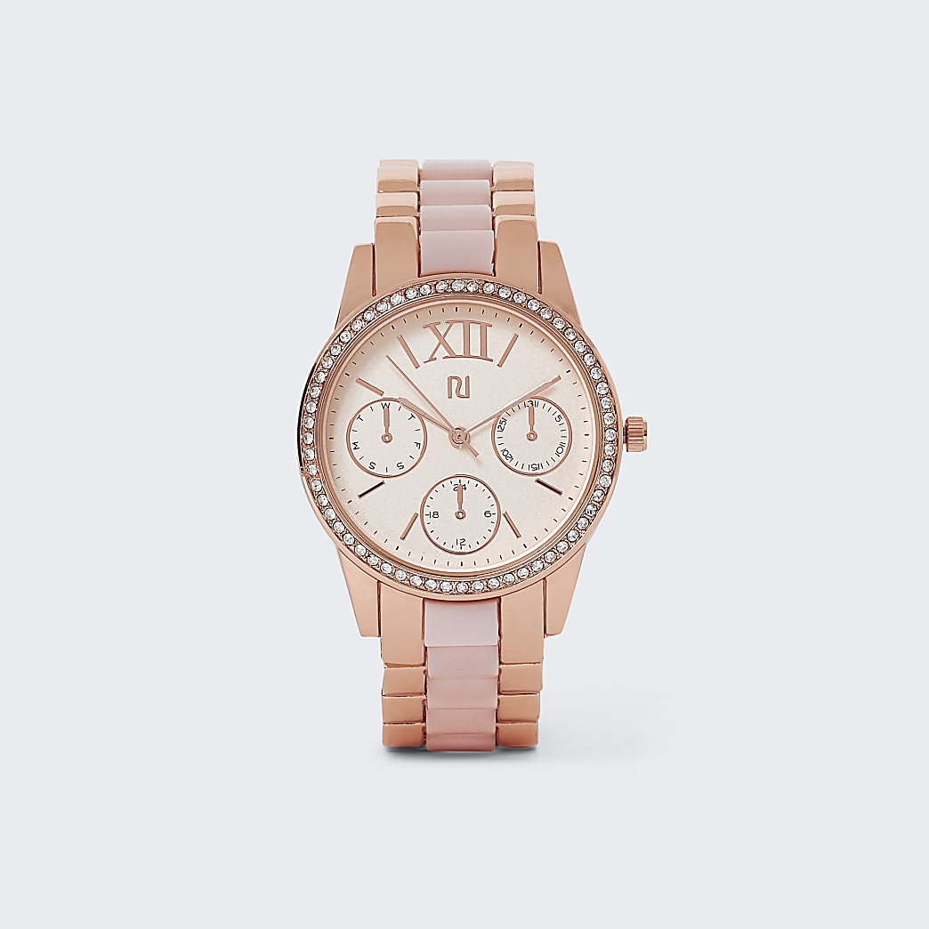 Rose gold link watch