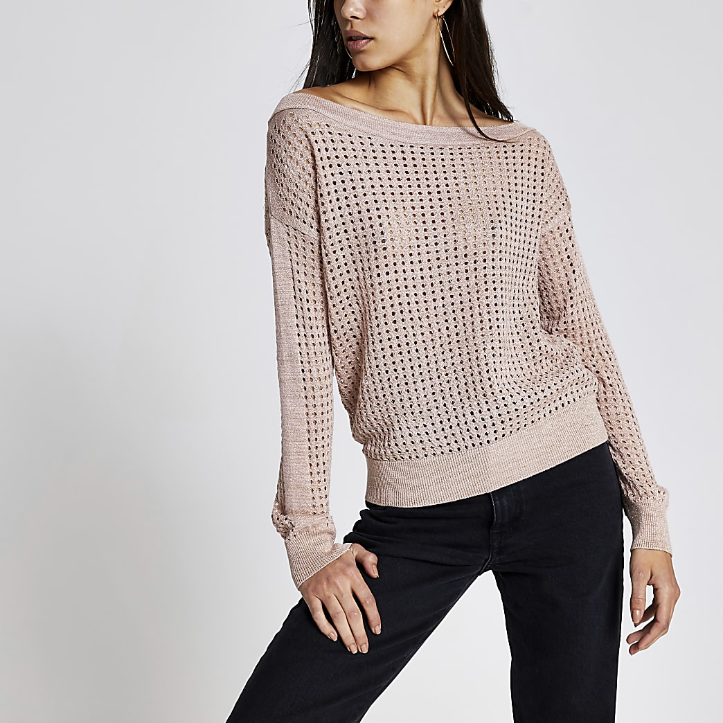 Rose gold mesh asymmetric knitted top