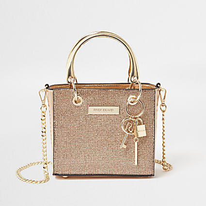 Rose Gold mini boxy tote handbag