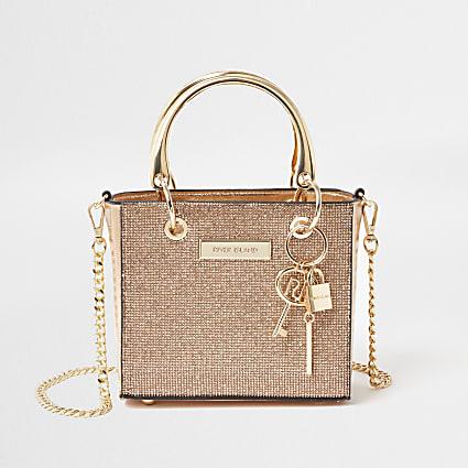 Rose Gold mini boxy tote handbag