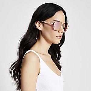 Roségoudkleurige pilotenzonnebril met weerspiegelende glazen