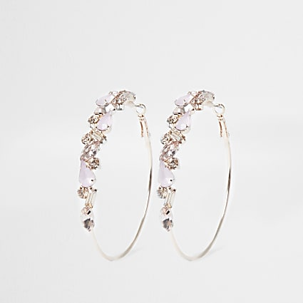 Rose gold opal jewelled hoop earring