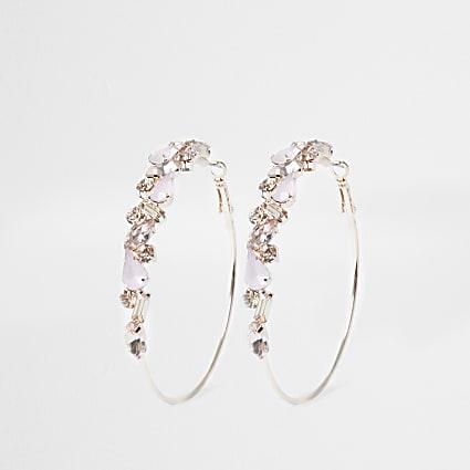 Rose gold opal jewelled hoop earring