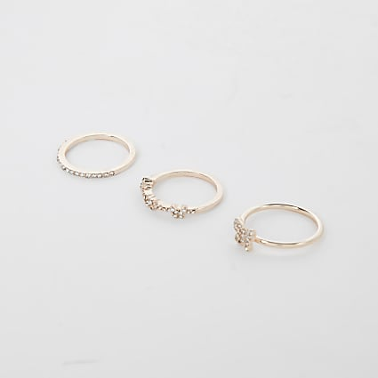 Rose gold pack of 3 butterfly stacking rings