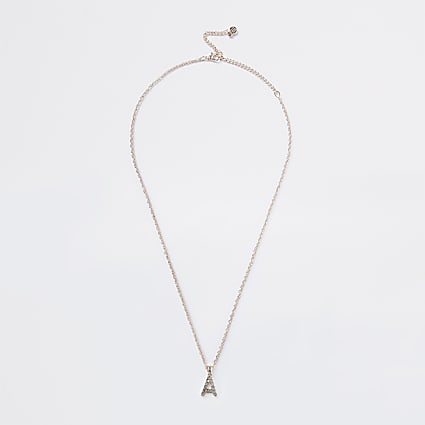 Rose Gold Pave A Initial Ditsy Charm