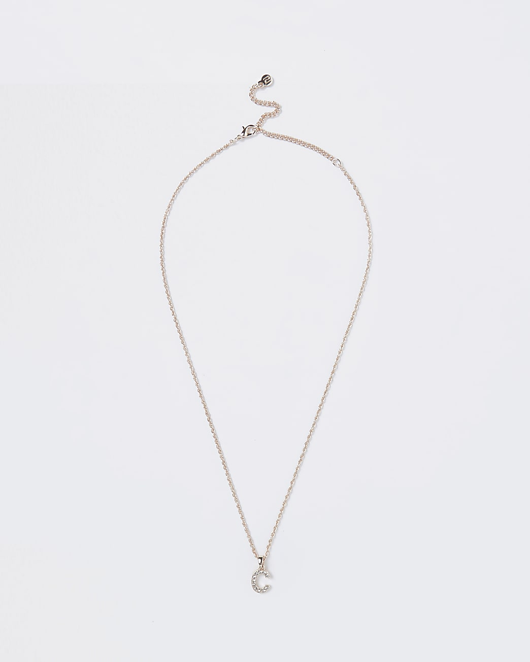 Rose Gold pave C Initial ditsy charm necklace