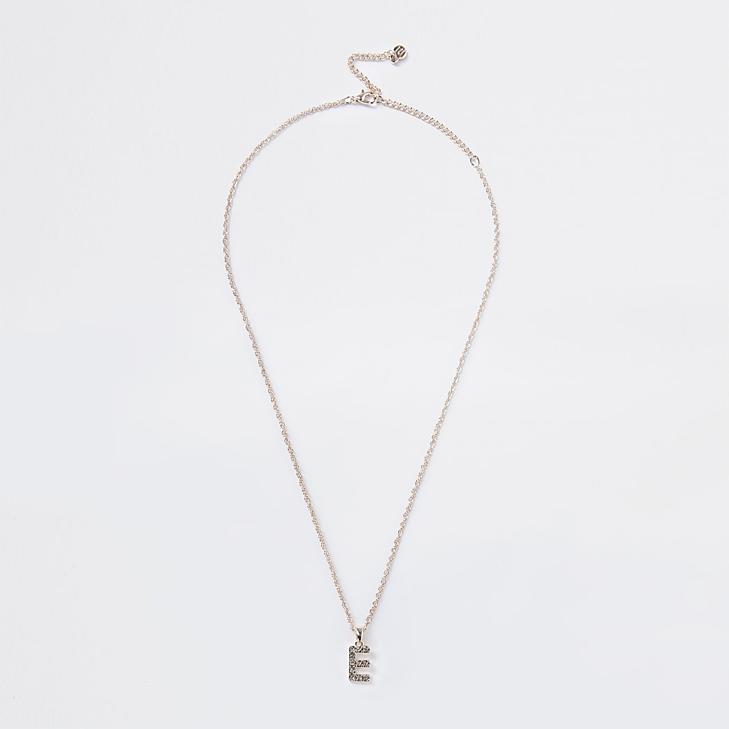 Rose Gold pave E Initial ditsy charm necklace