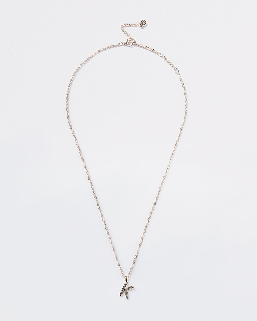 Rose Gold pave K Initial ditsy charm necklace