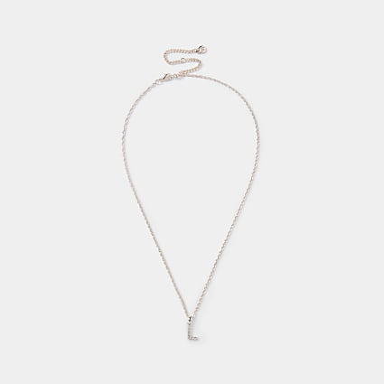 Rose Gold pave L Initial ditsy charm necklace