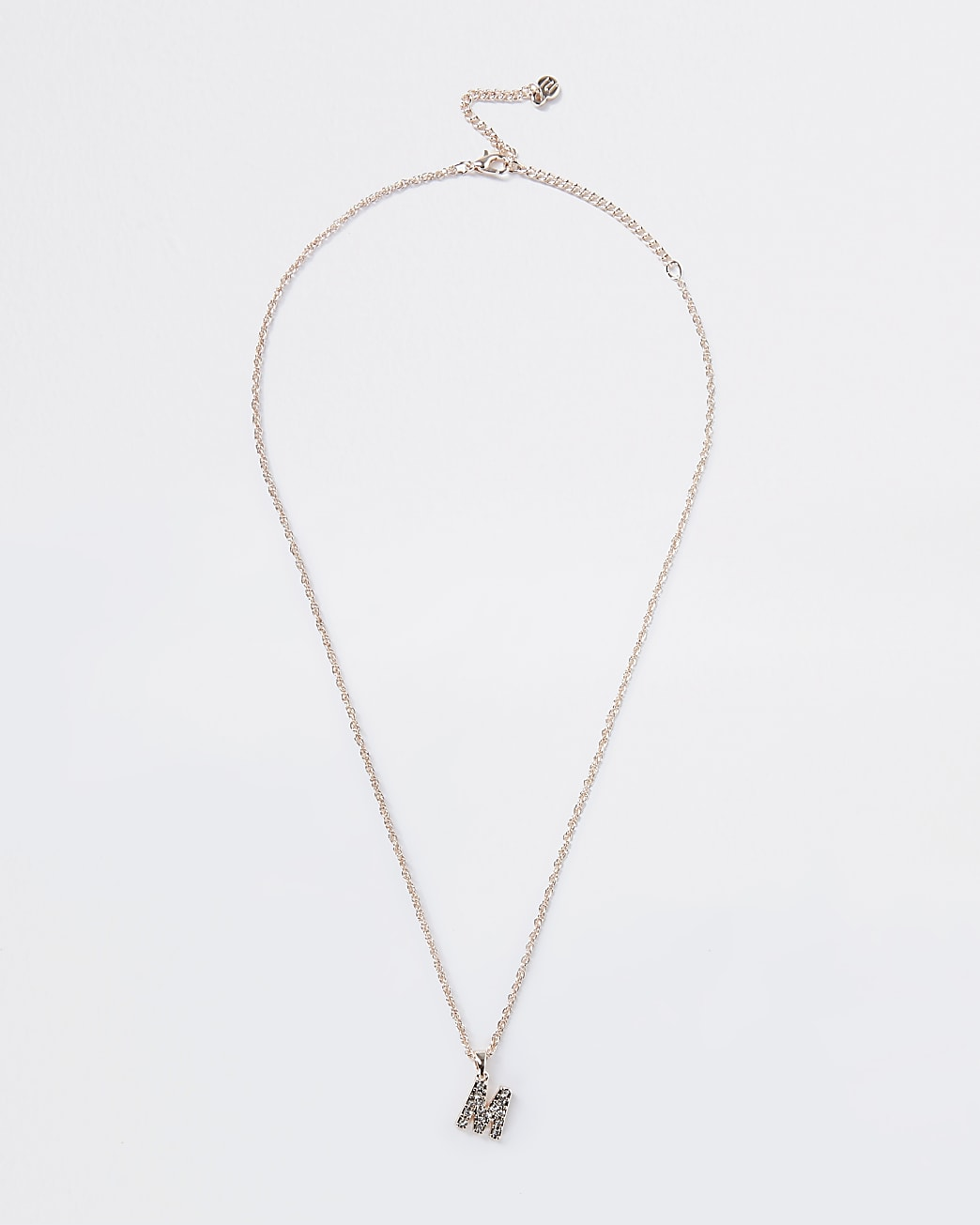 Rose Gold pave M Initial ditsy charm necklace