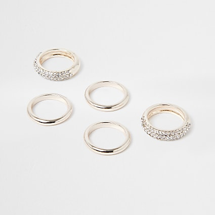 Rose gold pave ring pack