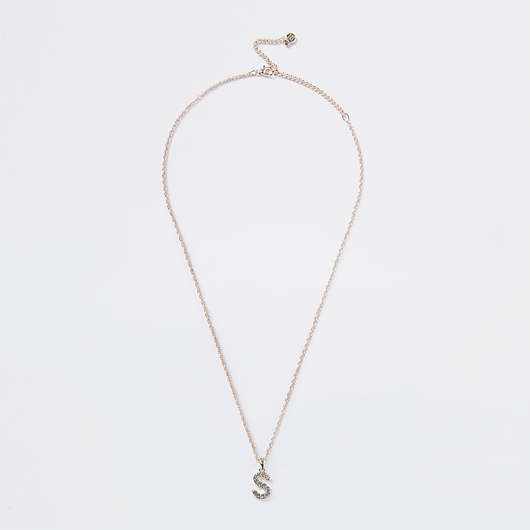 Rose Gold pave S Initial ditsy charm necklace
