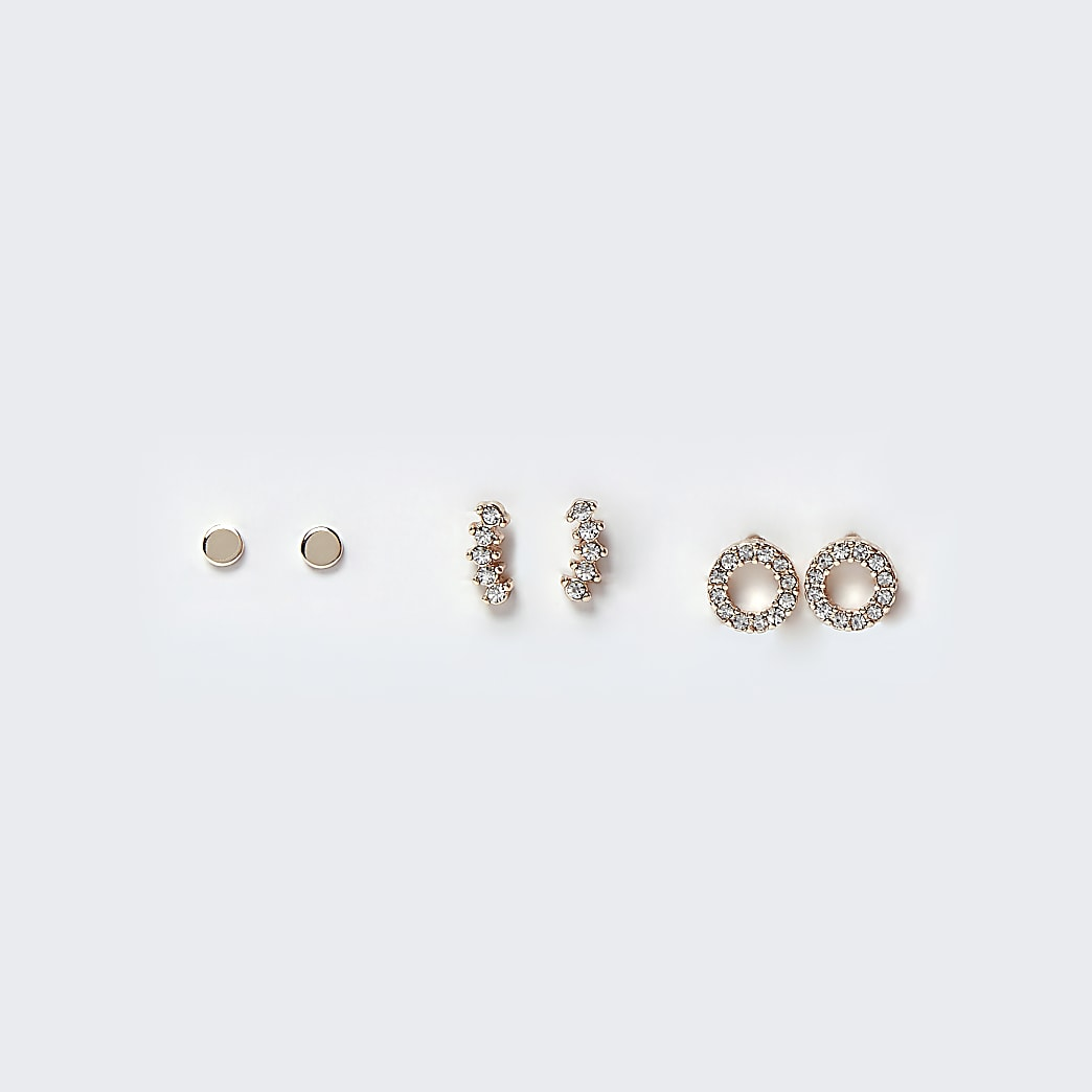 Rose Gold Pave Stud Earring Multipack