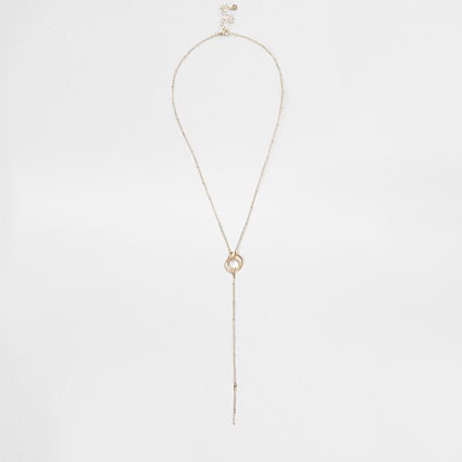 Rose gold pave twist circle necklace